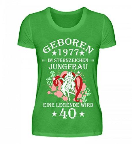 Shirtee Hochwertiges Damenshirt - Sternzeichen Jungfrau Wird 40 Green Apple
