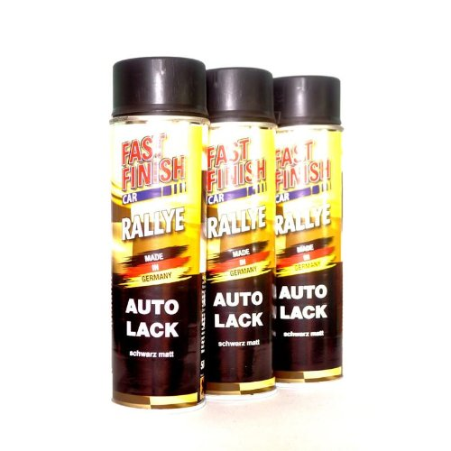 felgen lackspray FAST FINISH CAR RALLYE 1K AUTOLACK SCHWARZ MATT 3 x 500 ml 292828/3