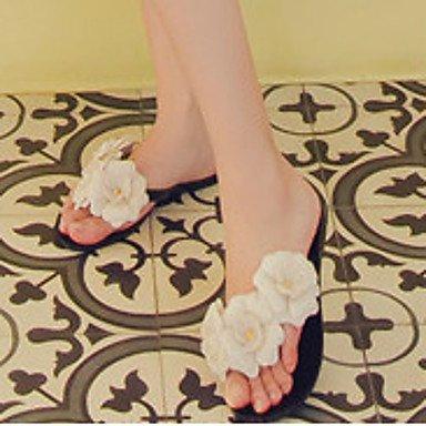zhENfu donna pantofole & amp; flip-flops Estate Slingback Casual in gomma tacco piatto fiore bianco nero altri Black