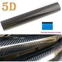 "Vinilo de fibra de carbono Wrap 5d brillante burbuja liberación de aire libre gran textura hoja rollo de película por peatop (60""x 12""/5FT X 1ft)"