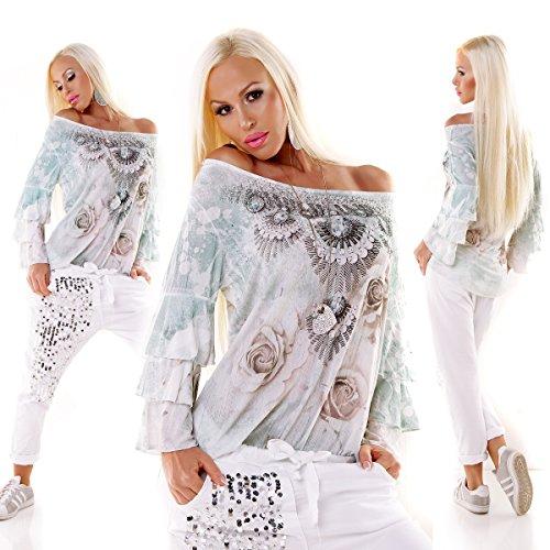 Moda Italy Bluse Tunika Oversized ROSE Volantärmel Minze