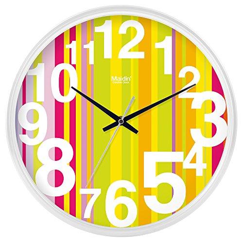 DIDADI Wall Clock Kreisförmige Uhrenbatterie mute Wanduhr hinter dem Motor Schlafzimmer beigefügte Tabelle Herr Ding clock Kalender Wohnzimmer, 8 Zoll Quarzuhr, die normale Version Weiß