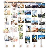 Love-KANKEI FAMILY Cadre Photo Mural Avec Corde Porte-Photos Avec 30 Petites Pinces Couleur de Bois Naturel Belle Décoration de la Maison Cadeau Mariage et Anniversaire