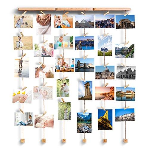 fotorahmen family Love-KANKEI FAMILY Bilderrahmen Collage Fotorahmen Holzbilderrahmen mit 30 kleinen Holzklammern