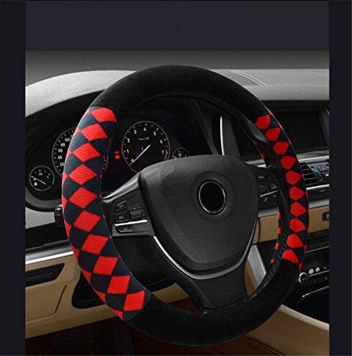 Mitsubishi Lenkrad (Universal Auto Lenkradhülle Lenkrad Abdeckung Lenkradbezug aus Mikrofaser Leder & Plüsch 38CM / 15'' Anti Rutsch Atmungsaktiv Lenkradabdeckung Lenkradschoner, Schwarze & Rote Raute)