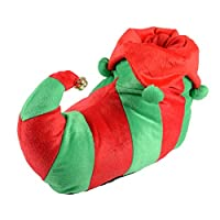 Unisex Adult Elf Red & Green Christmas Novelty Slippers with Non Slip Soles New