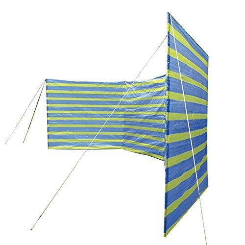 Happy People Camping Windschutz XL Sichtschutz Strand PE-Plane Mehrfarbig (blau/gelb) 400x135 groß
