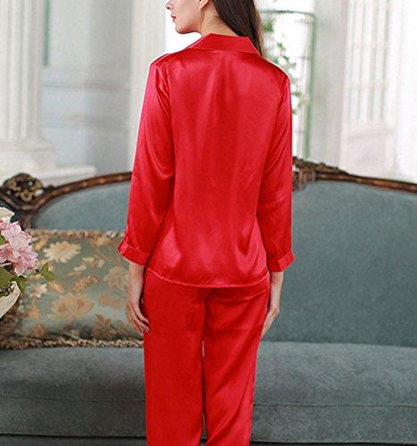 Frau Sommer Zu Hause Bestickt Mit Langen Ärmeln Zweiteilige Lässig Und Bequem Pyjamas Red