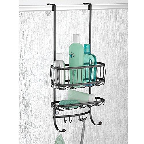 mDesign Duschablage zum Hängen über die Duschtür – praktisches Duschregal ohne Bohren aus Metall – 2 Duschkörbe zum Einhängen und 6 Haken für Duschzubehör – mattschwarz
