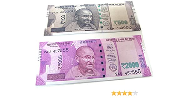 Pmw 2000 and 500 Indian Currency Notes Printed Canvas Multicolour Bi-Folded  Slim Wallet - 2 Pieces