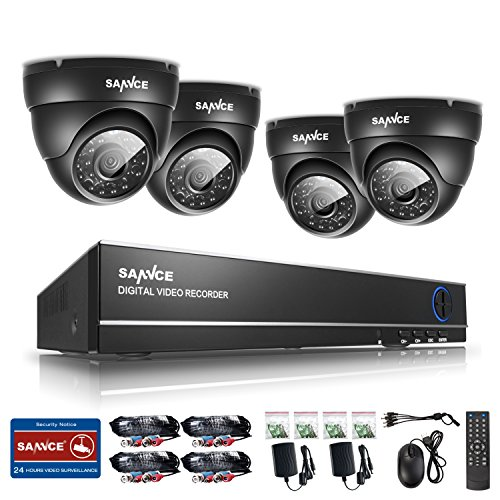 ANNKE Sannce 4CH 720P Security DVR W/ 4 1.0 Megapixel 1280*720P Weatherproof Home Surveillance CCTV Camera System, QR Code Scan, Easy DIY, Quick Remote Access