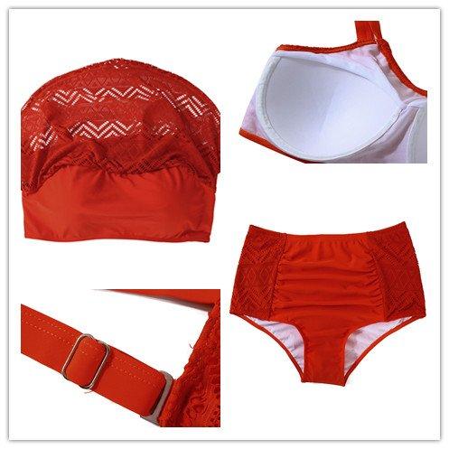 db13bb4426d8 FeelinGirl Femme Grande Taille Deux pièces Halter bandage Push Up Brésilien  Bikini Floral Print Maillots de bain Femme Grande Taille 2 pièces Triangle  ...