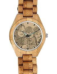 f95b024c2648 SOUFEEL Reloj Madera Personalizado Foto y Grabado Punteros Luminosos Cuarzo  Regalo Personalizado para Familia Hombre Mujer Amigo…