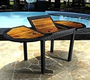 Table de jardin en teck et résine tressée - ovale à rallonge 120-180 cm