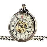 Treeweto bronzo Open Face orologio da tasca meccanico numeri romani quadrante orologio