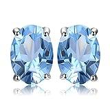 JewelryPalace 1.89ct Magnifique Boucles d'Oreilles Femme en Argent Sterling 925 en Topaze Ciel Bleue en Forme Ovale