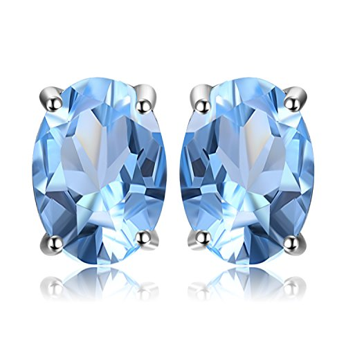 JewelryPalace Oval 1.9ct Natur Himmel Blau Topaz Birthstone Ohrstecker Solid 925 Sterling Silber