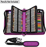 NIUTOP 160 Slots Pencil Case PU Leather Large Capacity Zipper Pen Bag with Adjustable Strap for Colored Pencil Watercolor Pencils Marco Pens and Cosmetic Brush (Purple)