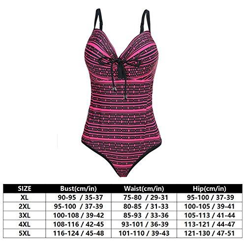 Perfashion Damen Einteiler Badeanzug Bodysuit Wassersport Bademode Übergröße Rosa Rot