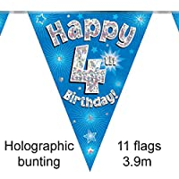 Happy 4th Birthday Blue Holographic Foil Party Bunting 3.9m Long 11 Flags