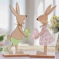 Descrizione del prodotto:2 pezzi in una scatola, altezza 26 cm, larghezza 12 cm, i conigli stanno su una piccola tavola di legno, così puoi metterli dove vuoi. i conigli di legno in piedi sono decorazioni perfette per Pasqua e primavera, asso...