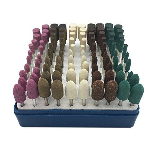 HYCC 100stück Multifunktionale Wolle / Sesam / Gummi / Rindsleder Schleifsteine Punkte Elektrische Schleifen Polieren Zubehör Befestigung Mixed Set - Fit Dremel-1/8''(3mm) Shank Test
