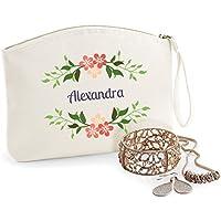 Kit personalizado, algodón orgánico, bolsa de tocador, nombre, regalo de cumpleaños, caja de la joyería, bolsoK3-DXNN-NG7U