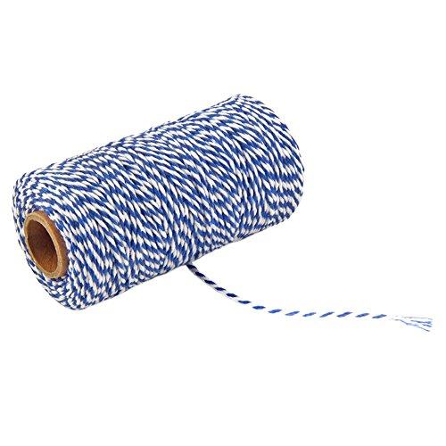 kxtffeect Natürliche Baumwolle Farbige gemischt Baker 's Twine, stabiler Handmade Seil für Heimwerker, Craft String stricken, Dekoration, Binden Kuchen und Gebäck Boxen, 2mm Durchmesser Blue&White -