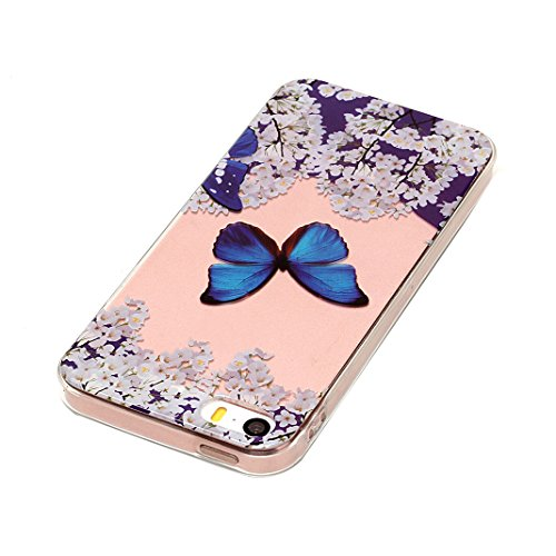 iPhone 5S Silikon Case, iPhone 5 Silikon Handyhülle, iPhone SE Silikon Cover, Moon mood® Soft Schutzhülle für Apple iPhone SE/5/5S Ultra Thin Dünn Weiche TPU Schutz Etui Cover, iPhone SE Backcover Sof Blue Schmetterlings