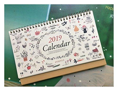 Monatlicher Schreibtischunterlage 2019, mit Ständer, Doppeldrahtbindung, Juli 2018 - Dezember 2019, Monatsplaner für Büro, Schule, Familie, 25,4 x 17 cm 10''x6.7'' blume