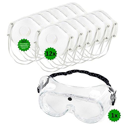 Schutz-Set bestehend aus Vollsichtbrille (auch geeignet für Brillenträger) + 12 Stück P2 Atemschutz-Masken - Mundschutz gegen Sprühnebel, Staub, Feinstaub. Persönliche Schutzausrüstung zum Ausbringen von Pflanzenschutzmitteln, beim Renovieren, uvm. GREEN24 Profi ()