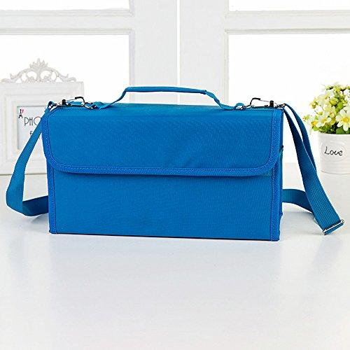 Haosen 80 Farbe Federmäppchen Bleistift-Beutel Skizze Bleistift Tasche - Qualität Oxford-Tuch Mehrschichtige Malerei Paket (Blau)