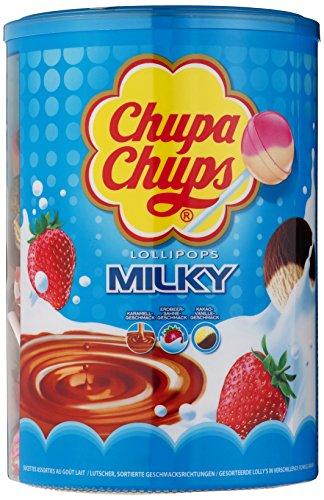 Chupa Chups Schlemmerlutscher-Dose, 100er Vorrat Lollis, 3 cremige Geschmacksrichtungen, Milky Lutscher (Kokos-sahne)