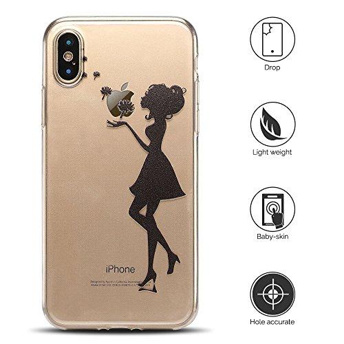 Cover iPhone X Custodia iPhone X Silicone Anfire Morbido Flessibile TPU Gel Case Cover per Apple iPhone X (5.8 Pollici) Ultra Sottile Clear Trasparente Copertura Antiurto Protettivo Bumper Skin Shell  Ragazza