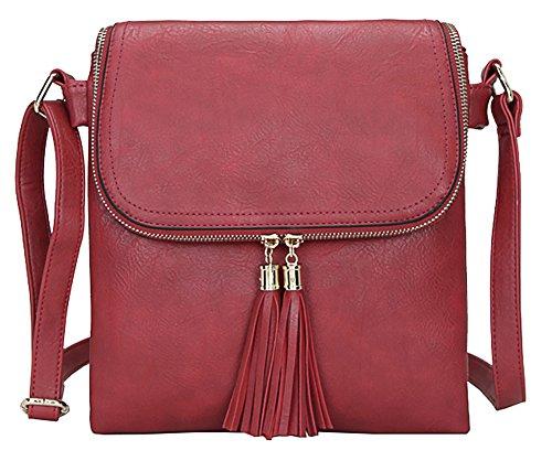 Big Handbag Shop Damen, mittelgroß, trendige Messengertasche, Schultertasche, Umhängetasche Design 5 - Red