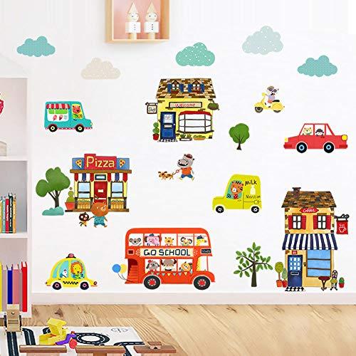 Cartoon Kinderzimmer Tapete selbstklebende Malerei niedlichen Schlafzimmer Dekorationen Wandaufkleber Tür Fenster wasserdicht Glasaufkleber glückliche Stadt