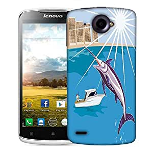 Snoogg blue marlin fish jumping retro Designer Protective Back Case Cover For Lenovo S920
