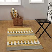 Homescapes Grey Ochre Yellow Modern Cotton Chenille Hall Runner 66 x 200cm Tufted Circles & Hand Woven Striped Hallway Rug