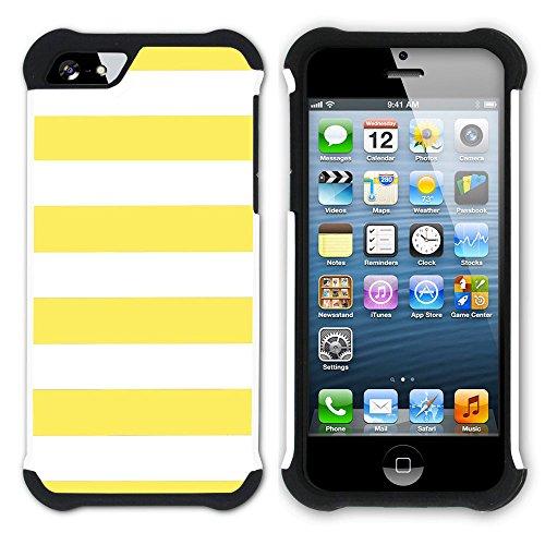 Graphic4You Color Stripes Farbstreifen Muster Design Hart + Weiche Kratzfeste Hülle Case Schale Tasche Schutzhülle für Apple iPhone SE / 5 / 5S (Aqua Blau) Gelb