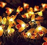 EONHUAYU Biene Lichterketten, Honigbiene Lichterketten 3.2M 30LED Honig Bienen Batterie für Outdoor Garten Sommer Party Hochzeit Weihnachten Dekoration (Warmweiß)