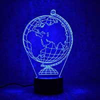 Creative Earth Globe Lamp Gifts 3D Led Visual Colorido accesorio de luz Lámpara de mesa USB