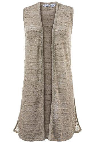 GINA LAURA Damen bis Größe 3XL   Strickweste   lange Form   Streifen-Struktur, Seiten-Schlitze   Grob-Strick   beige XL 172541 22-XL