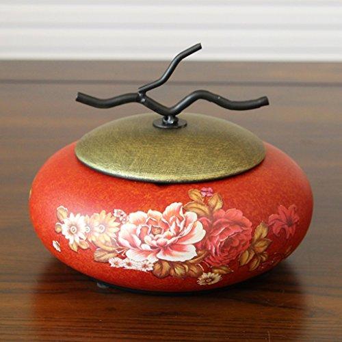 GXYGWJ Amerikanischer Keramik Aschenbecher European Retro Mit Deckel Aschenbecher Kaffeetisch Dekoration Handwerk Möbel Kreative Ornamente Aschenbecher (Color : G) -