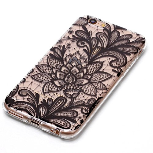 Cover iPhone 6 Plus/6S Plus, GrandEver Morbida Trasparente Ultra Slim Gel Silicone TPU Custodia Protettiva Back Shell Case per iPhone 6 Plus/6S Plus - Piuma Fiore 4