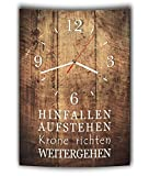 LAUTLOSE Designer Wanduhr mit Spruch Hinfallen aufstehen Krone richten weitergehen Holz Holzoptik modern Deko schild Abstrakt Bild 41 x 28cm