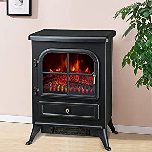Freestanding 1850W Burton Electric Fireplace Heater Fire Place Log Burning Effect Stove