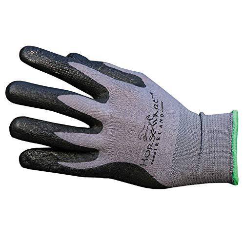 Horseware Coated Dot Grip Yard Glove 9 inches Grey/black (Stiefel Cuadra)