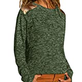 Oliviavan Damen Mode Langarmshirts Oberteile Rundhals Lässiges Top zum Nähen Elengant Vintage Tuniken Sport Komfort Material Streetwear