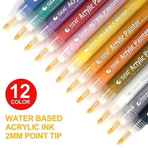 Acrilico pennarelli, permanente marcatori a vernice decor penne per DIY, disegnare, design tazza, ceramica, vetro, metallo, legno, tessuto, pennarelli set di 12 colori