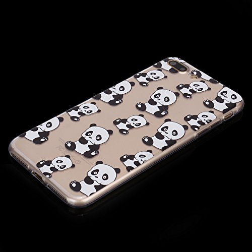 Coque iPhone 7 Plus, iPhone 8 Plus Coque Silicone, SainCat Ultra Slim Silicone Case Cover pour iPhone 7/8 Plus, Ultra Slim Transparente Antichoc Soft Gel TPU Cover Coque Caoutchouc Transparent Silicon Panda #